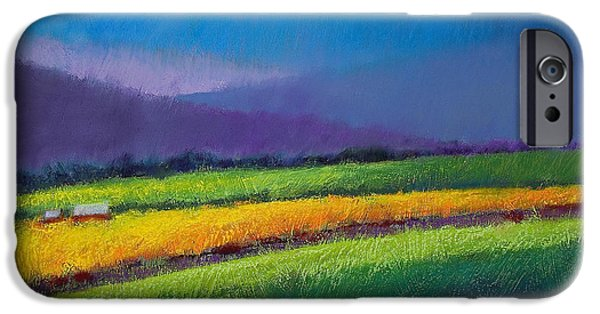 Clouds Pastels iPhone Cases - Passing Rain iPhone Case by David Patterson