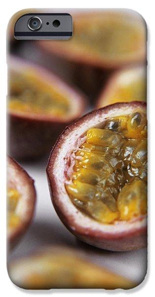 Passiflora iPhone Cases - Passion Fruit Halves iPhone Case by Veronique Leplat