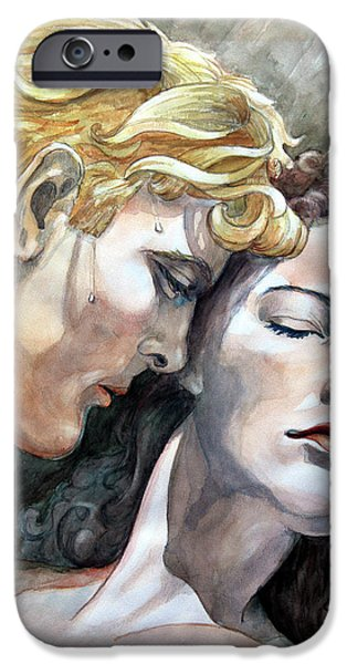 Dressing Room Paintings iPhone Cases - Passionate Embrace iPhone Case by Otto Werner