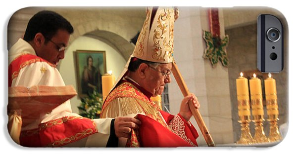 Patriarch iPhone Cases - Patriarch Fouad Twal at Christmas Mass iPhone Case by Munir Alawi