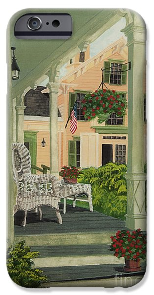 Patriotic Country Porch iPhone Case by Charlotte Blanchard