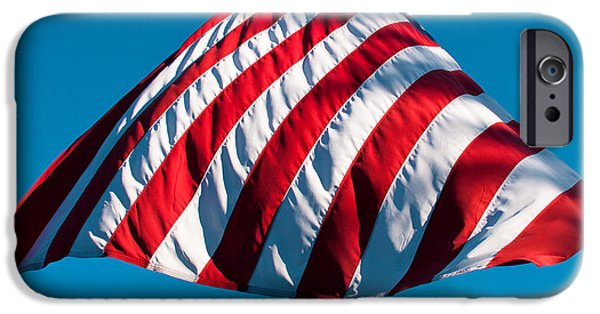 Old Glory iPhone Cases - Patriotic Umbrella iPhone Case by David Patterson