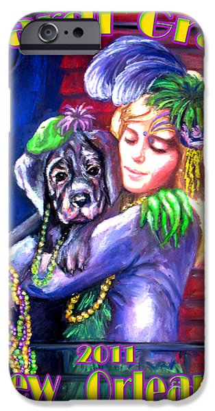 Balcony Pastels iPhone Cases - Pawdi Gras iPhone Case by Beverly Boulet