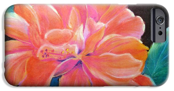 Botanical Pastels iPhone Cases - Peach Double Hibiscus iPhone Case by Susan Kubes