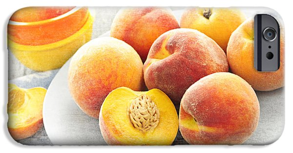 Organic Foods iPhone Cases - Peaches on plate iPhone Case by Elena Elisseeva