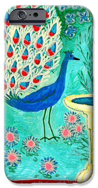 Sue Burgess Ceramics iPhone Cases - Peacock and Birdbath iPhone Case by Sushila Burgess