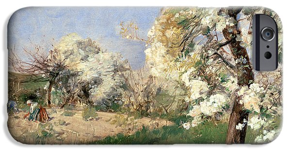 Childe iPhone Cases - Pear Blossoms iPhone Case by Childe Hassam