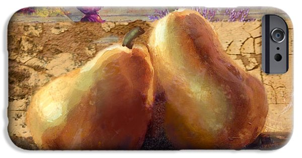 Pears Digital iPhone Cases - Pears Still Life iPhone Case by Betty LaRue