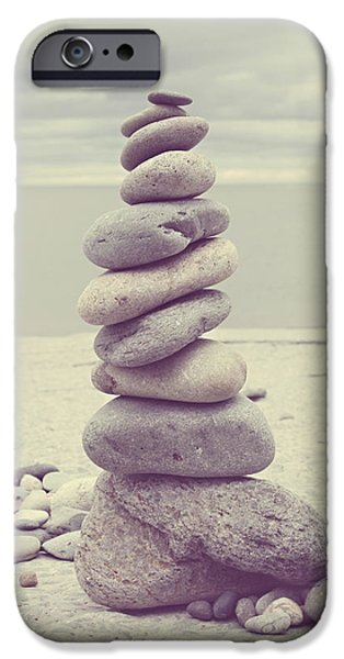 Rocks iPhone Cases - Pebble Tower iPhone Case by Mal Bray