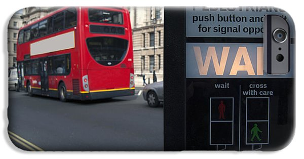 Thoroughfare iPhone Cases - Pedestrian Traffic Controls On The Side iPhone Case by Marlene Ford
