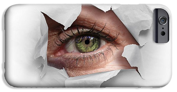 Papers iPhone Cases - Peek Through a Hole iPhone Case by Carlos Caetano