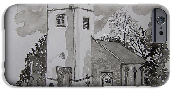 Tomb Drawings iPhone Cases - Pen and Ink-Llanarthne Church-01 iPhone Case by Pat Bullen-Whatling