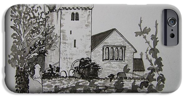 Tomb Drawings iPhone Cases - Pen and Ink-Llangathen Church-02 iPhone Case by Pat Bullen-Whatling