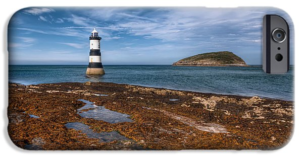 Coastline Digital Art iPhone Cases - Penmon Lighthouse iPhone Case by Adrian Evans