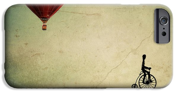 Surreal Landscape Photographs iPhone Cases - Penny Farthing for Your Thoughts iPhone Case by Irene Suchocki