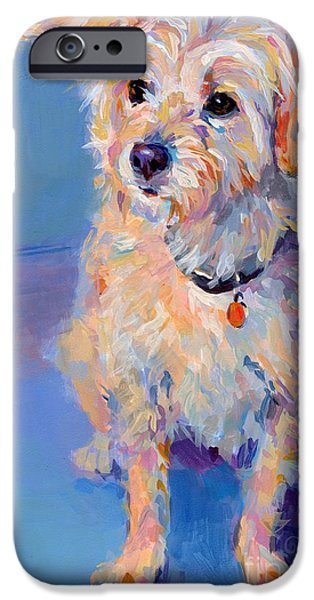 Terrier iPhone Cases - Penny Peach iPhone Case by Kimberly Santini