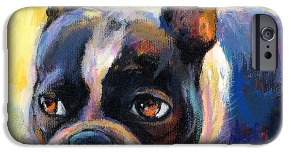 Pets Art iPhone Cases - Pensive Boston Terrier dog painting iPhone Case by Svetlana Novikova