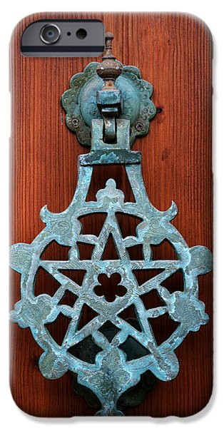 Entrance Door Photographs iPhone Cases - Pentagram knocker iPhone Case by Fabrizio Troiani