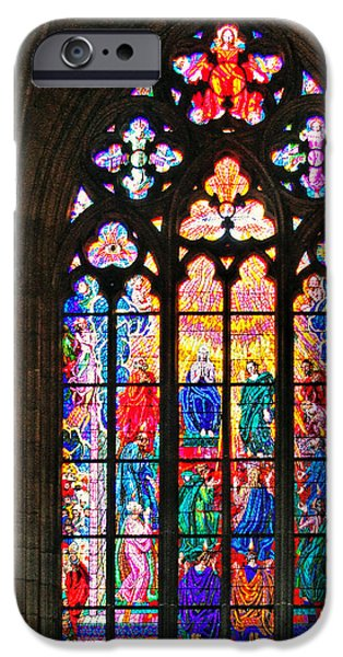 Pentecost iPhone Cases - Pentecost window - St. Vitus Cathedral Prague iPhone Case by Christine Till