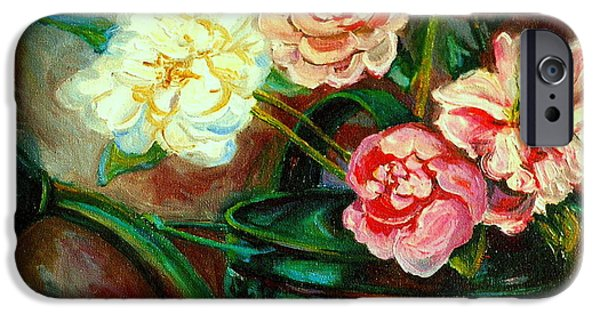 Garden Scene Paintings iPhone Cases - Peonies And Watering Can My Patio Garden Montreal City Summer Scene  iPhone Case by Carole Spandau