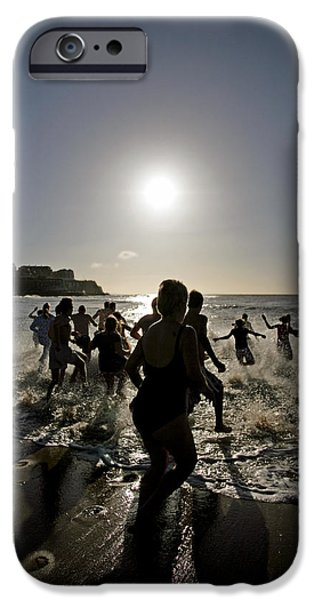 Freedom Party iPhone Cases - People Running Into The Sea iPhone Case by Carlos Dominguez