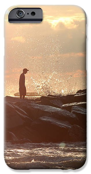 People walking on New Buffalo Michigan breakwater iPhone Case by Christopher Purcell