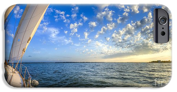 Amazing Sunset iPhone Cases - Perfect Evening Sailing on the Charleston Harbor iPhone Case by Dustin K Ryan