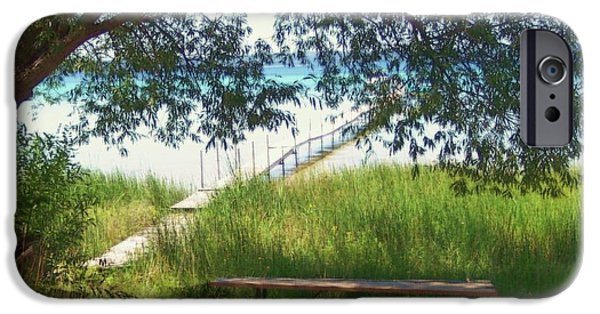 Willow Lake Mixed Media iPhone Cases - Perfect Picnic Spot iPhone Case by Desiree Paquette