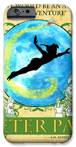 Pirate Ship Mixed Media iPhone Cases - Peter Pan Tribute iPhone Case by William Depaula