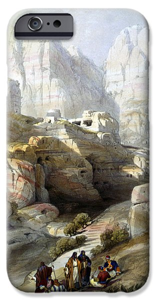 Jordan iPhone Cases - Petra March 10th 1839 iPhone Case by Munir Alawi