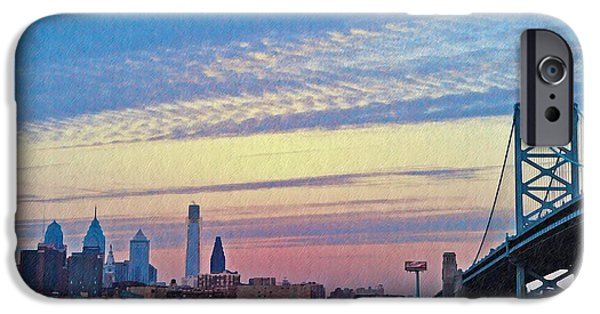 Franklin Digital Art iPhone Cases - Philadelphia at Dawn iPhone Case by Bill Cannon