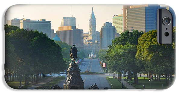 Franklin Digital Art iPhone Cases - Philadelphia Benjamin Franklin Parkway iPhone Case by Bill Cannon
