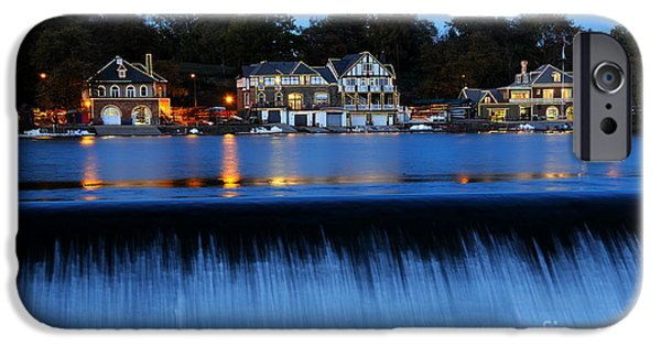 Illumination iPhone Cases - Philadelphia Boathouse Row at Twilight iPhone Case by Gary Whitton