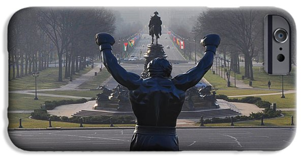 Boxer Digital Art iPhone Cases - Philadelphia Champion - Rocky iPhone Case by Bill Cannon