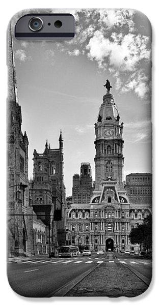Sky iPhone Cases - Philadelphia City Hall BW iPhone Case by Susan Candelario