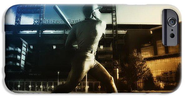 Baseball Stadiums Digital Art iPhone Cases - Philadelphia Phillie Mike Schmidt iPhone Case by Bill Cannon