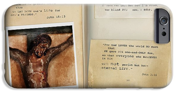 Jesus Crucifiction iPhone Cases - Photo of Crucifix with Bible Verses. iPhone Case by Jill Battaglia
