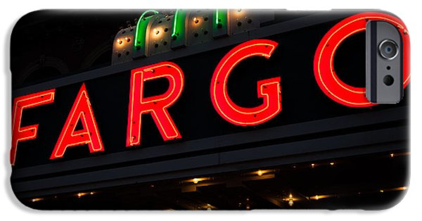 Buildings iPhone Cases - Photo of Fargo Theater Sign at Night iPhone Case by Paul Velgos