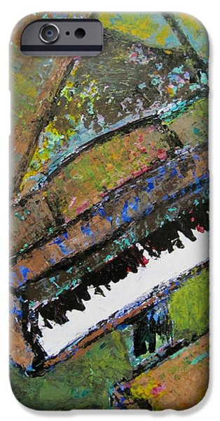 Grand Piano Paintings iPhone Cases - Piano Aqua Wall - cropped iPhone Case by Anita Burgermeister