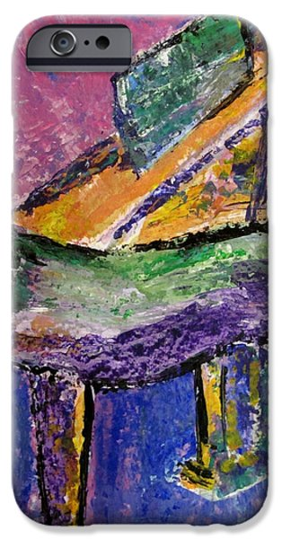 Grand Piano Paintings iPhone Cases - Piano Purple - cropped iPhone Case by Anita Burgermeister