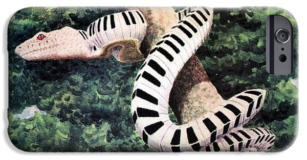 Serpent iPhone Cases - Piano Snake iPhone Case by Leah Saulnier The Painting Maniac