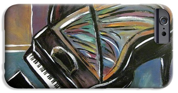 Grand Piano Paintings iPhone Cases - Piano with High Heel iPhone Case by Anita Burgermeister
