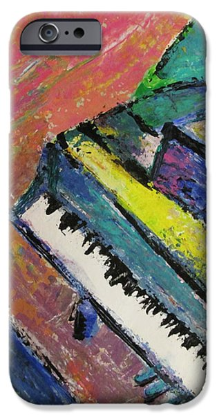 Splashy Paintings iPhone Cases - Piano with Yellow iPhone Case by Anita Burgermeister