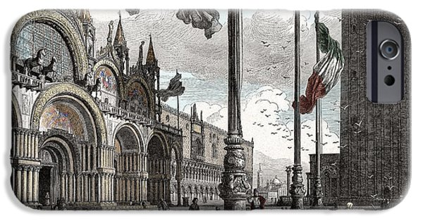 Nineteenth Digital iPhone Cases - Piazza San Marco in Venice iPhone Case by Raffaella Lunelli