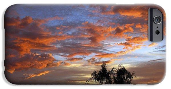 Las Cruces New Mexico Digital Art iPhone Cases - Picacho Peak Sunset II iPhone Case by Kurt Van Wagner