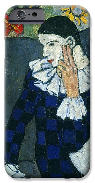 Aod iPhone Cases - Picasso Harlequin 1901 iPhone Case by Granger