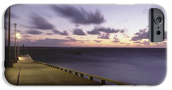 Night Lamp iPhone Cases - Pier And Coastline Just Before Dawn iPhone Case by Axiom Photographic