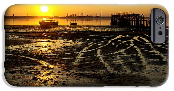 Algae iPhone Cases - Pier at Sunset iPhone Case by Carlos Caetano