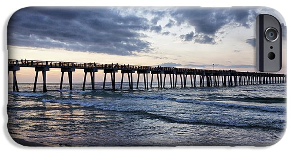 Panama City Beach Photographs iPhone Cases - Pier in the Evening iPhone Case by Sandy Keeton