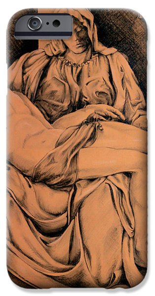Jesus Drawings iPhone Cases - Pieta Study iPhone Case by Otto Werner